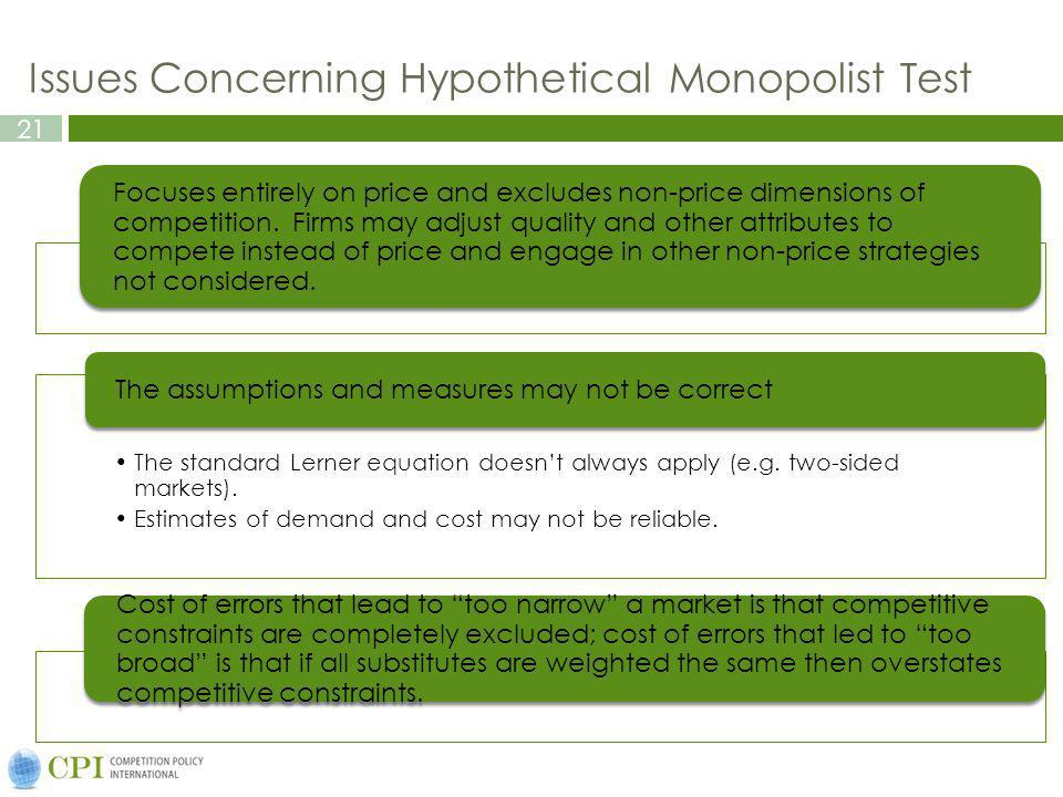 Issues Concerning Hypothetical Monopolist Test