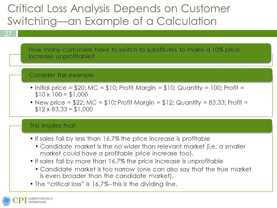 Critical Loss Analysis Depends on Customer Switching—an Example of a Calculation