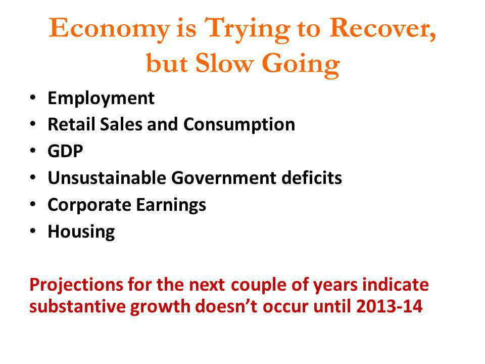 Economy is Trying to Recover, but Slow Going