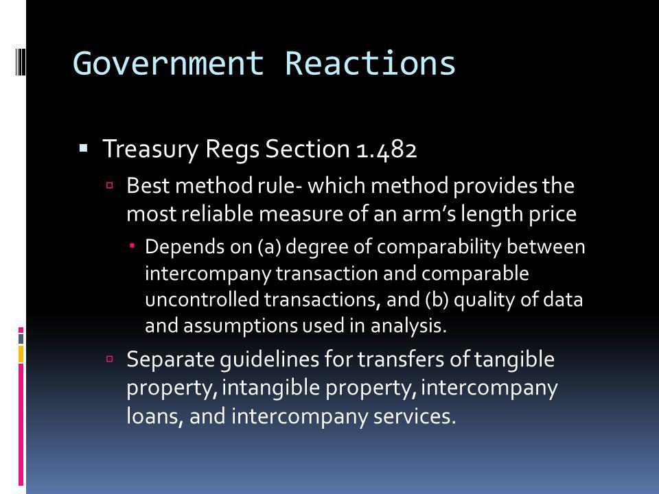 Government Reactions Treasury Regs Section 1.482