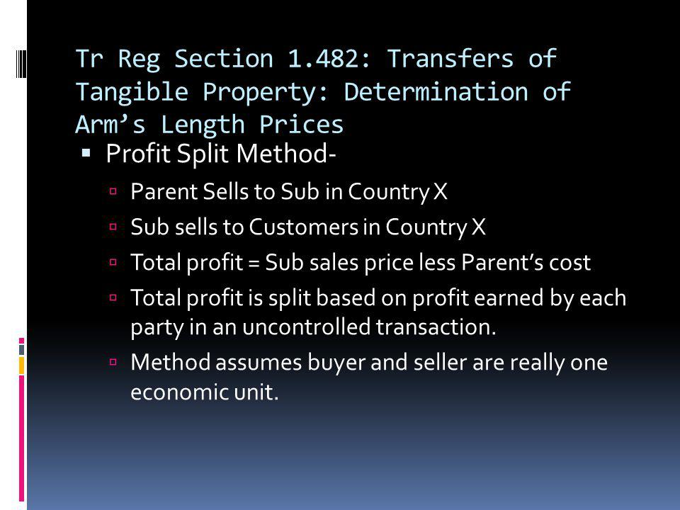 Tr Reg Section 1.482: Transfers of Tangible Property: Determination of Arm's Length Prices