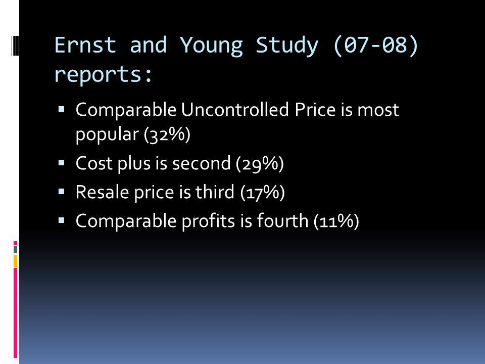 Ernst and Young Study (07-08) reports: