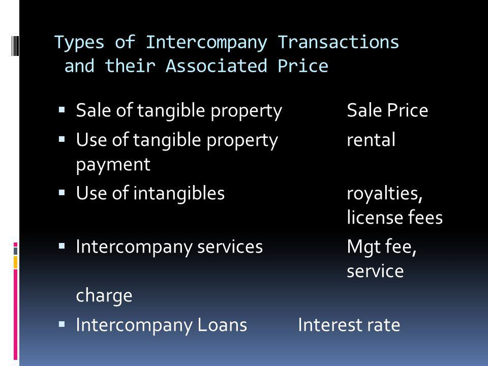 Types of Intercompany Transactions and their Associated Price