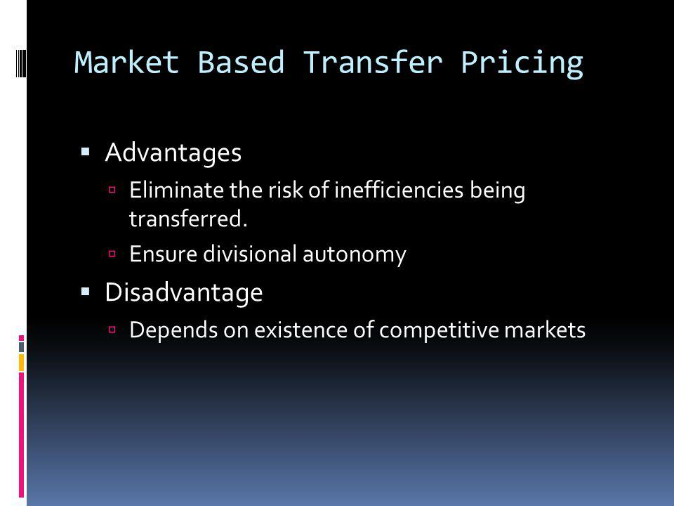 Market Based Transfer Pricing