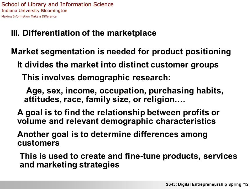 III. Differentiation of the marketplace