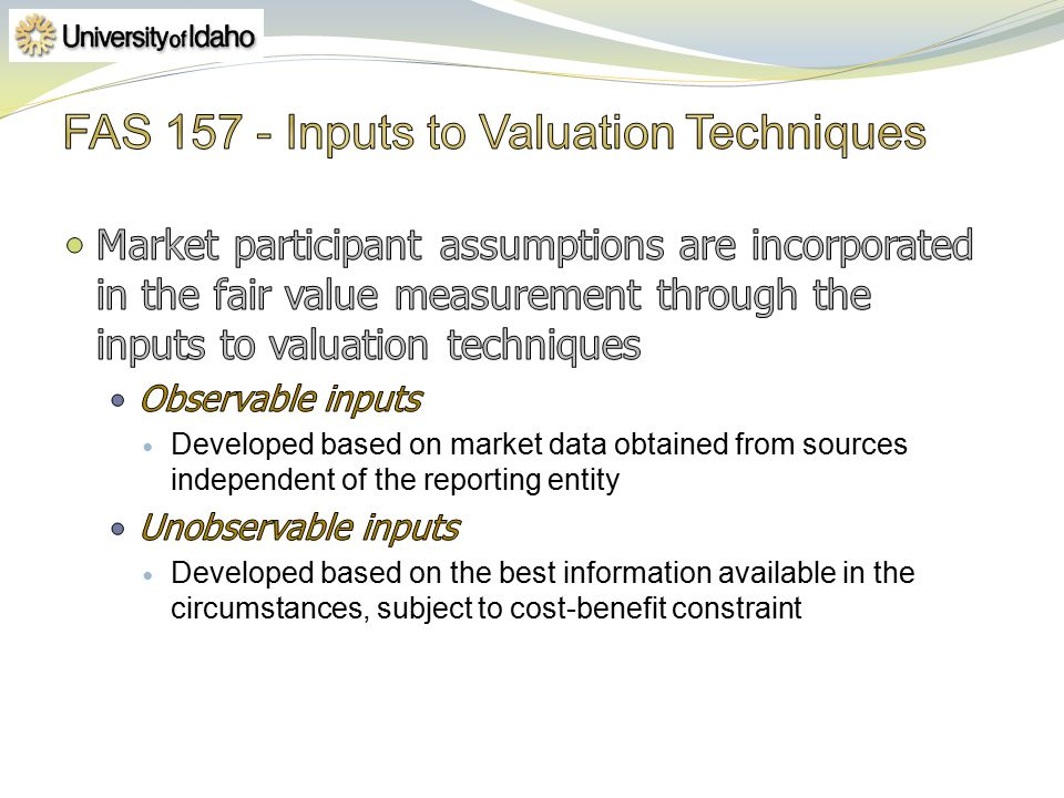 FAS Inputs to Valuation Techniques