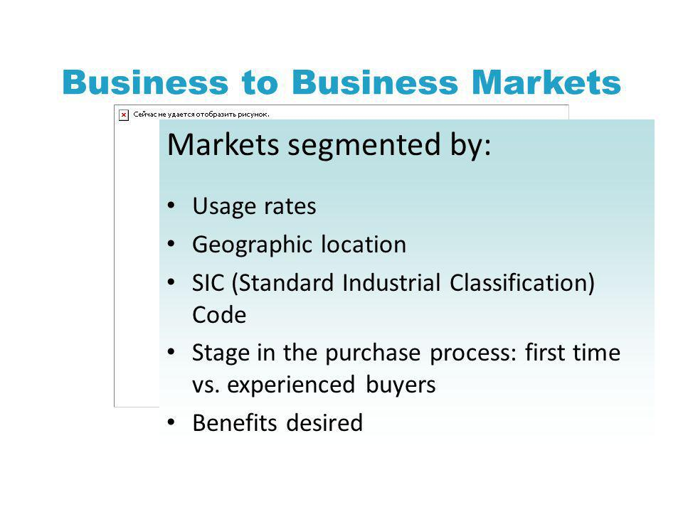 Business to Business Markets