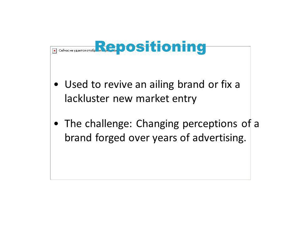 Repositioning Used to revive an ailing brand or fix a lackluster new market entry.