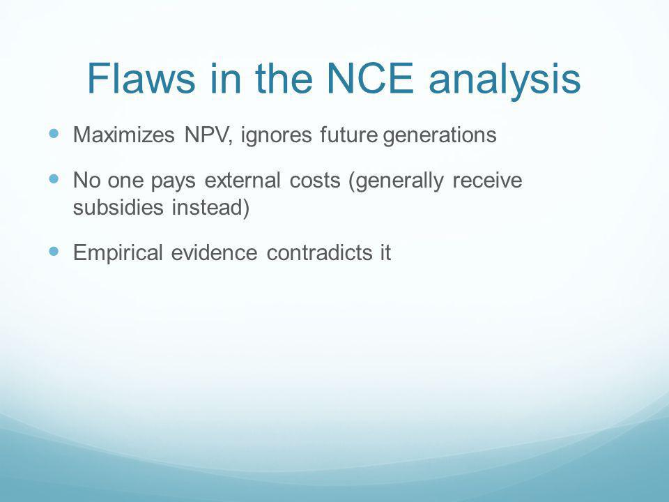 Flaws in the NCE analysis