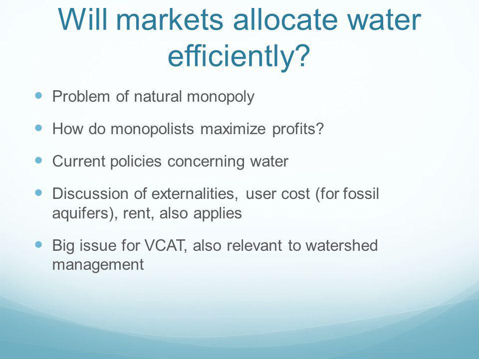 Will markets allocate water efficiently