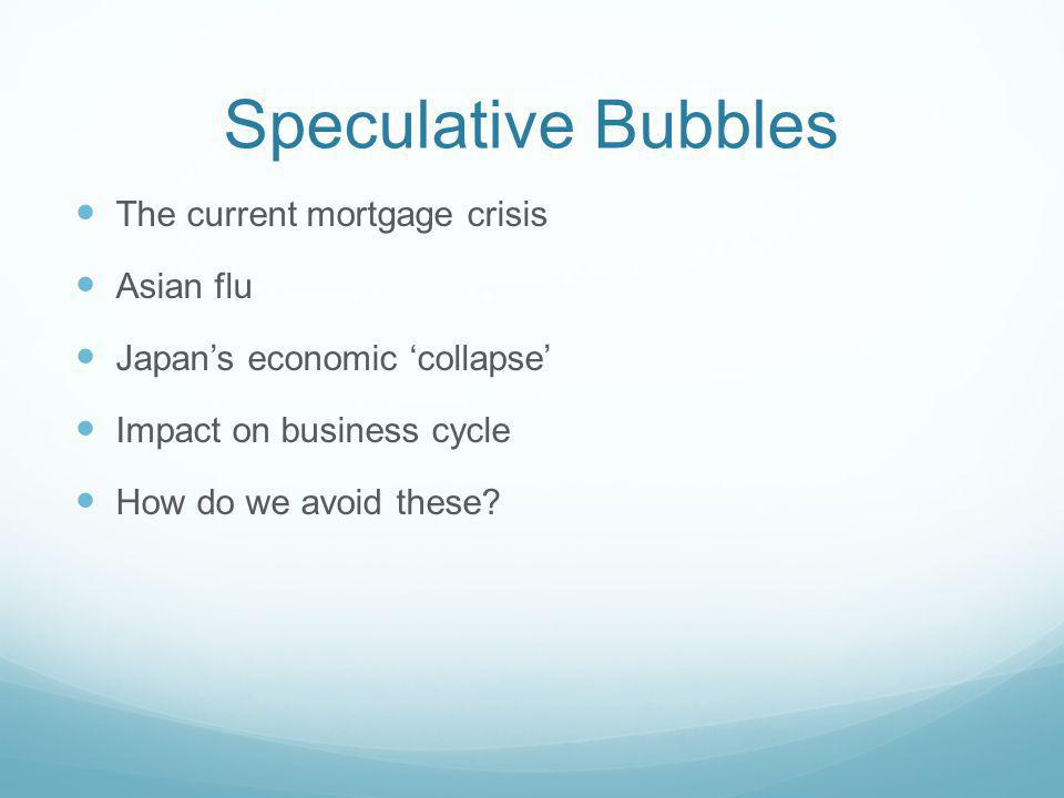 Speculative Bubbles The current mortgage crisis Asian flu