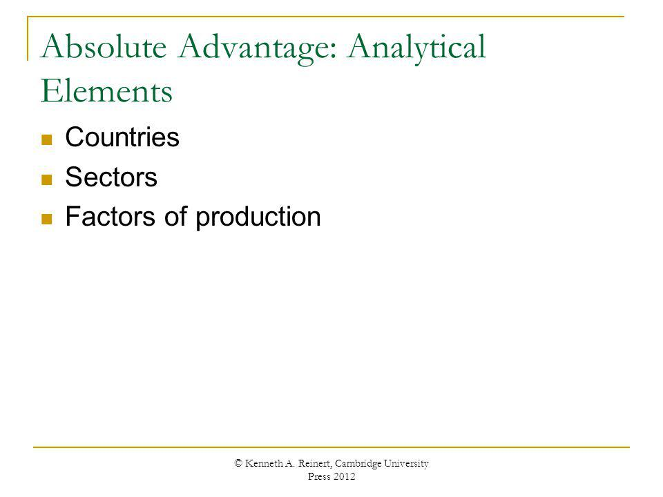 Absolute Advantage: Analytical Elements