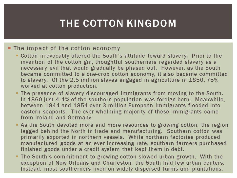 The Cotton Kingdom The impact of the cotton economy