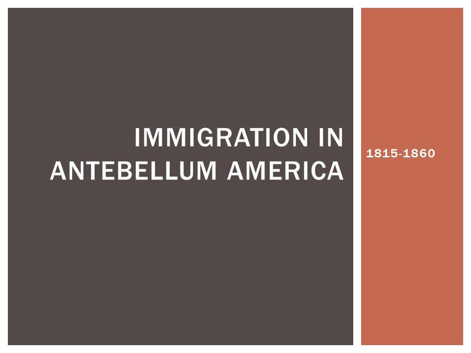 Immigration in Antebellum America