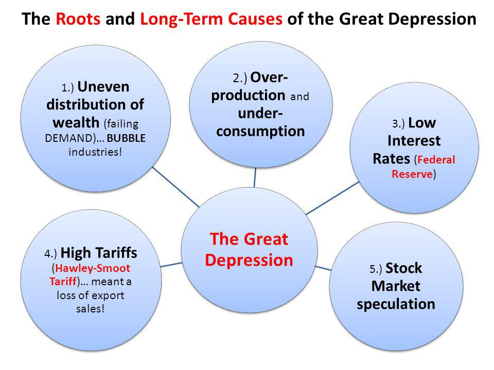 an analysis of the causes of the great depression It is far too simplistic to view the stock market crash as the single cause of the great depression a healthy economy can recover from such a contraction long-term .