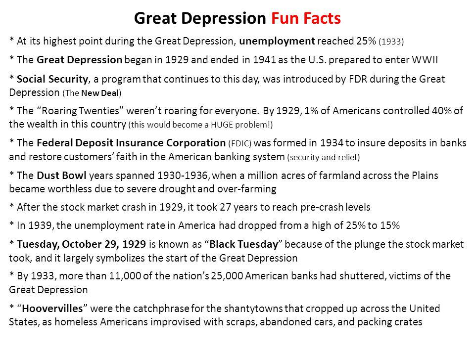 Great Depression Fun Facts