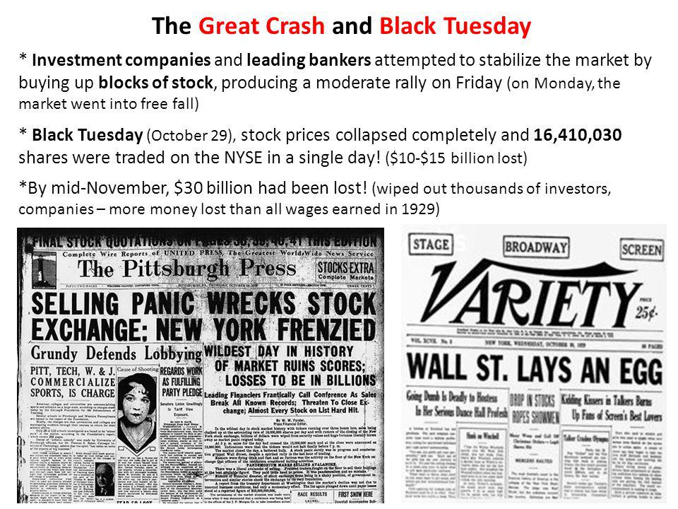 The Great Crash and Black Tuesday