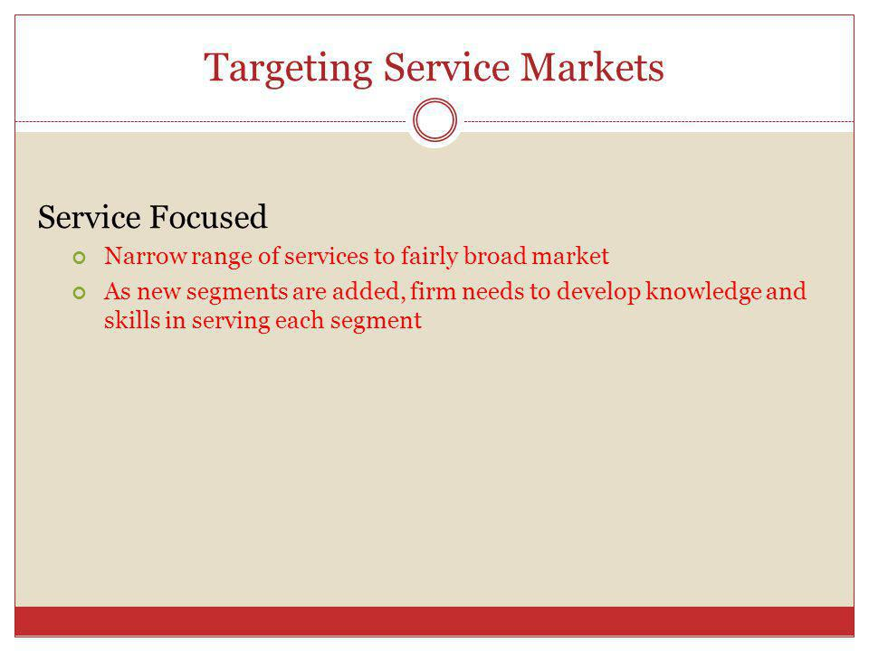 Targeting Service Markets