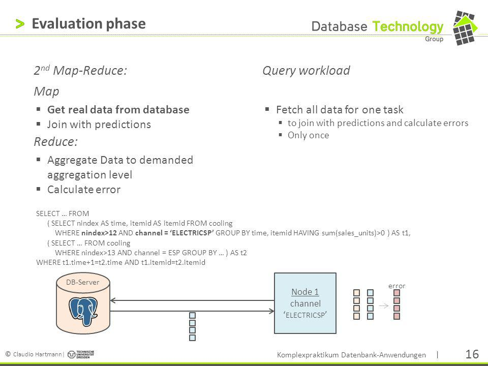 Evaluation phase 2nd Map-Reduce: Map Reduce: Query workload