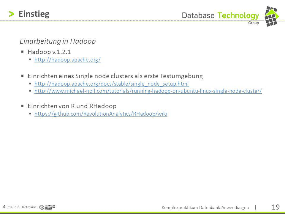 Einstieg Einarbeitung in Hadoop Hadoop v.1.2.1