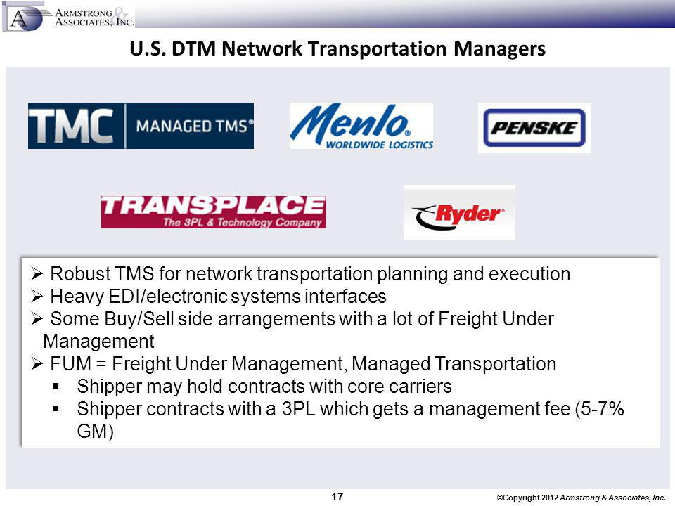 U.S. DTM Network Transportation Managers