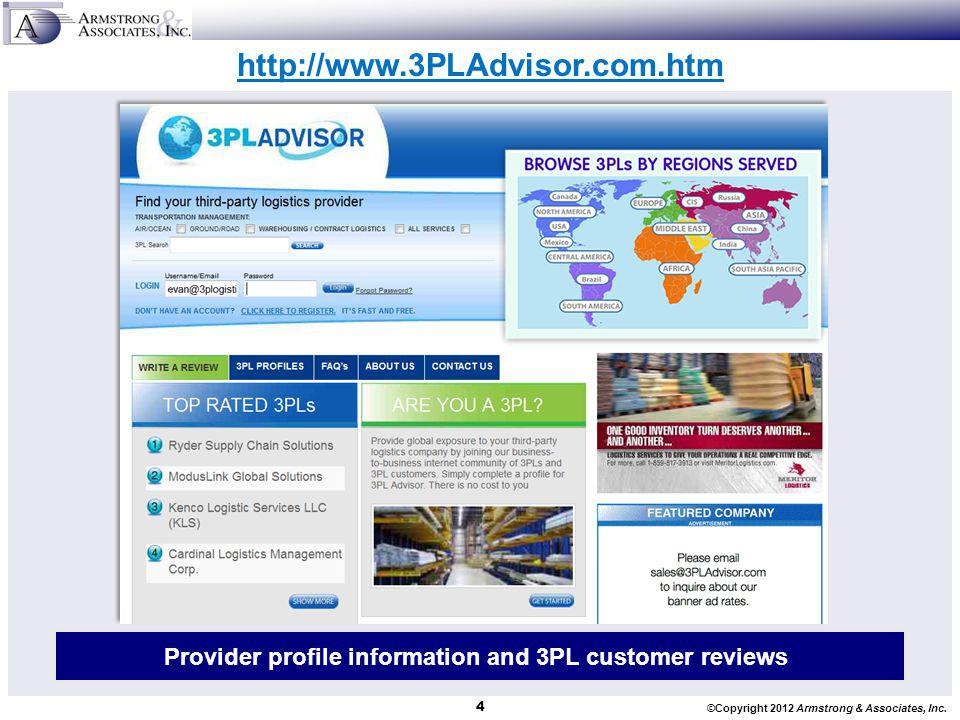 Provider profile information and 3PL customer reviews