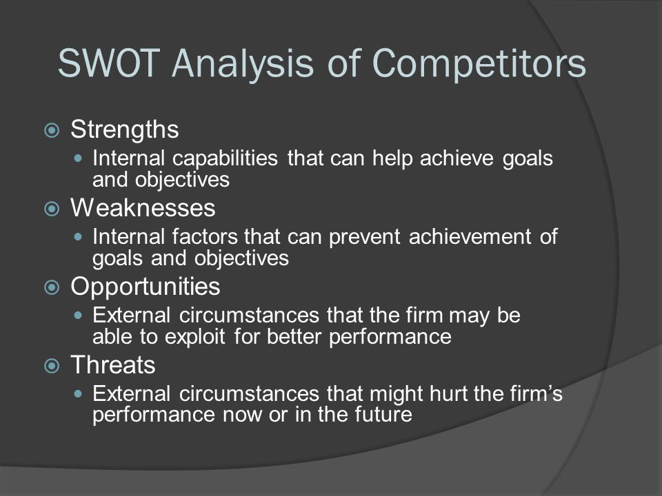 SWOT Analysis of Competitors