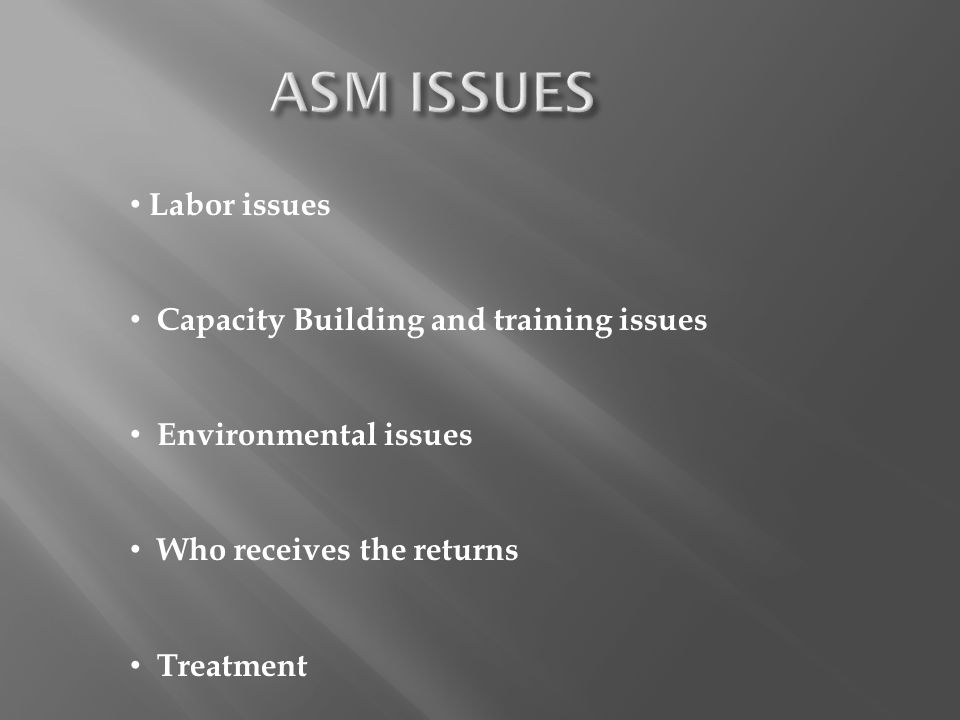 ASM ISSUES Labor issues Capacity Building and training issues