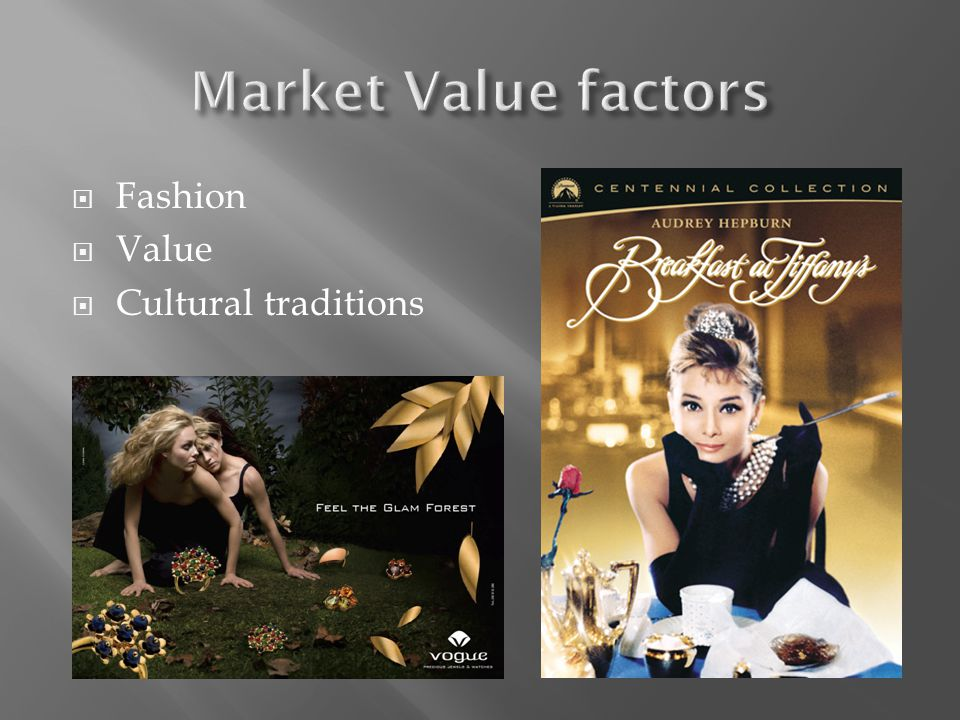 Market Value factors Fashion Value Cultural traditions