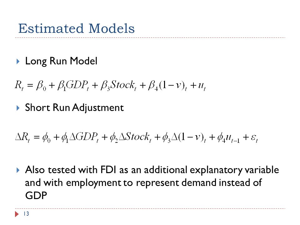 Estimated Models Long Run Model Short Run Adjustment