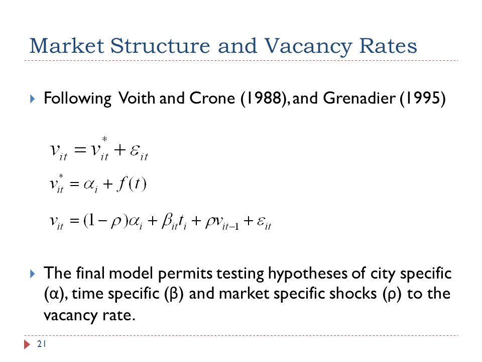 Market Structure and Vacancy Rates