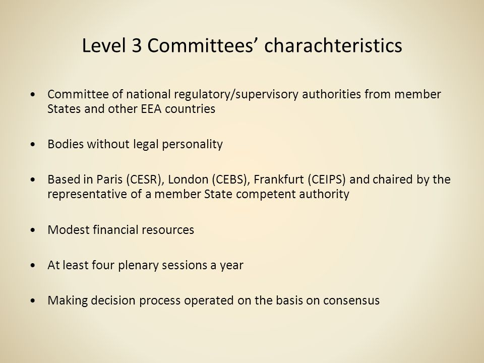 Level 3 Committees' charachteristics