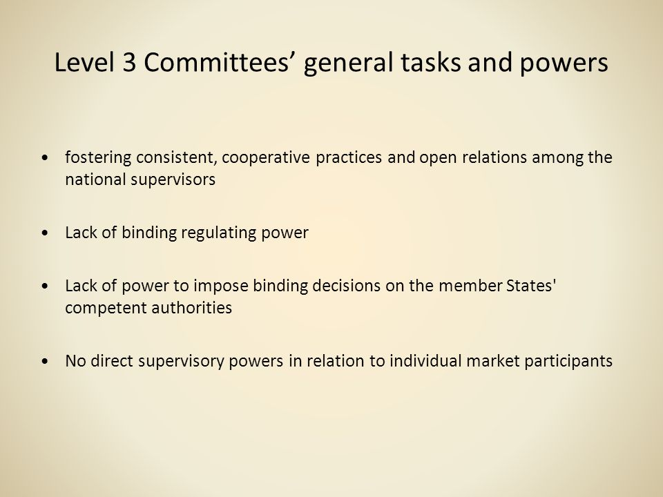 Level 3 Committees' general tasks and powers