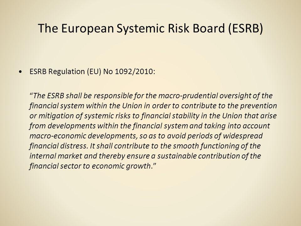 The European Systemic Risk Board (ESRB)
