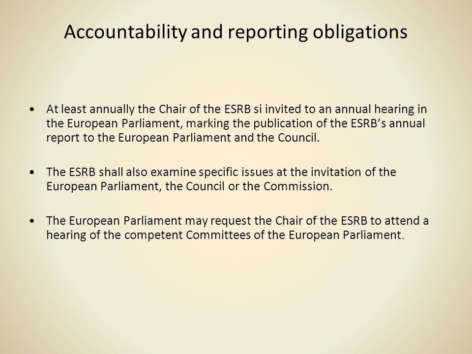 Accountability and reporting obligations