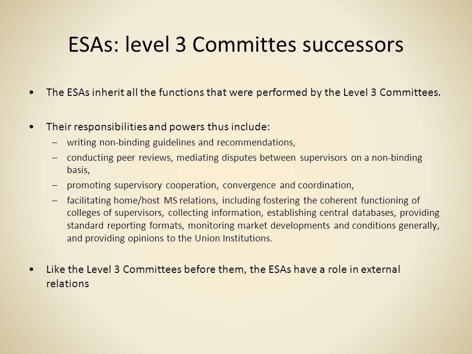 ESAs: level 3 Committes successors