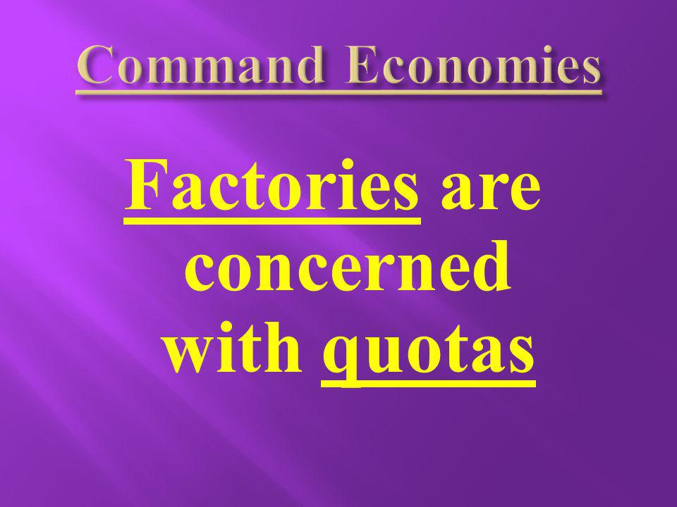 Factories are concerned with quotas