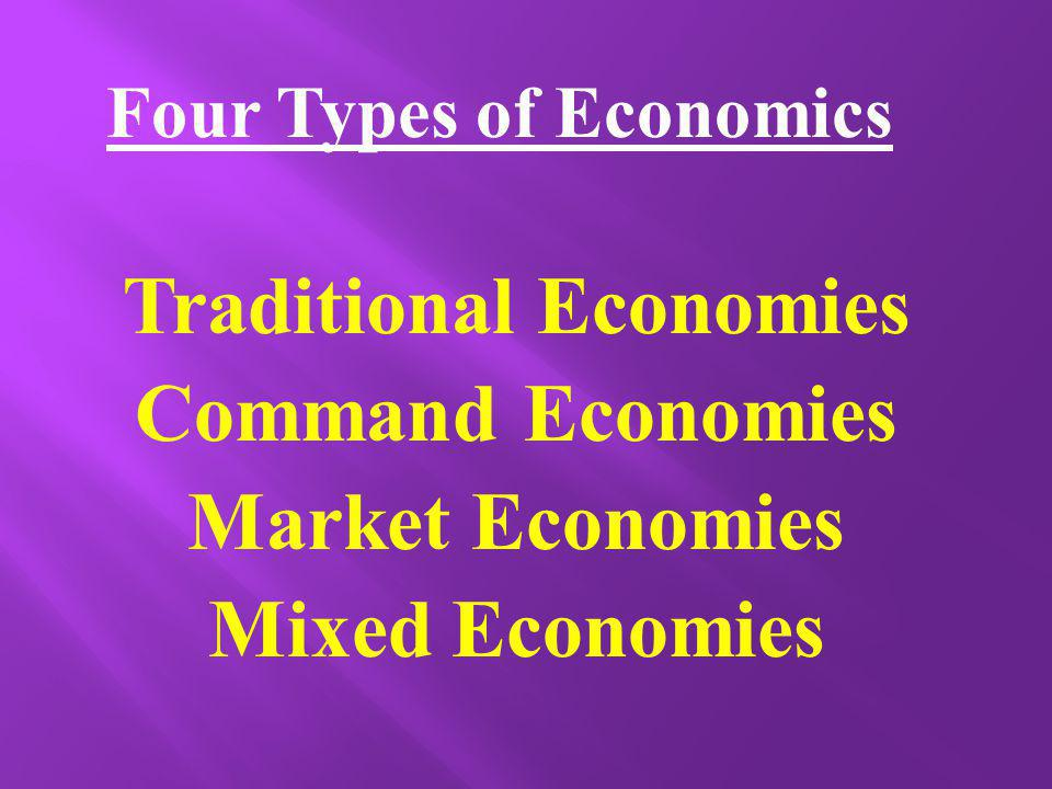 Four Types of Economics Traditional Economies