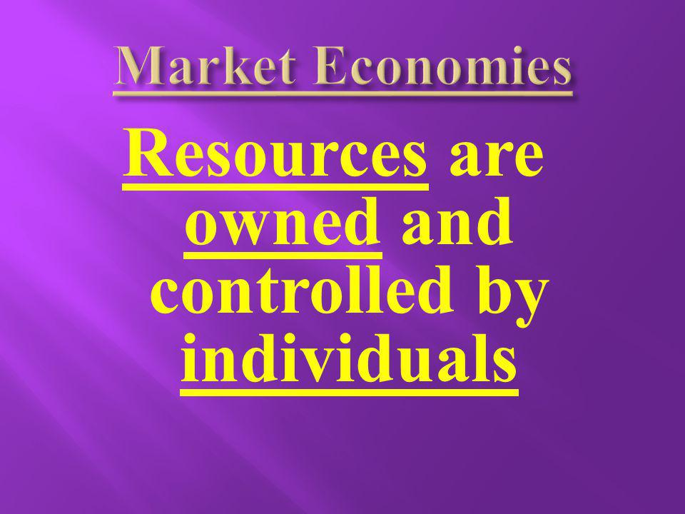 Resources are owned and controlled by individuals
