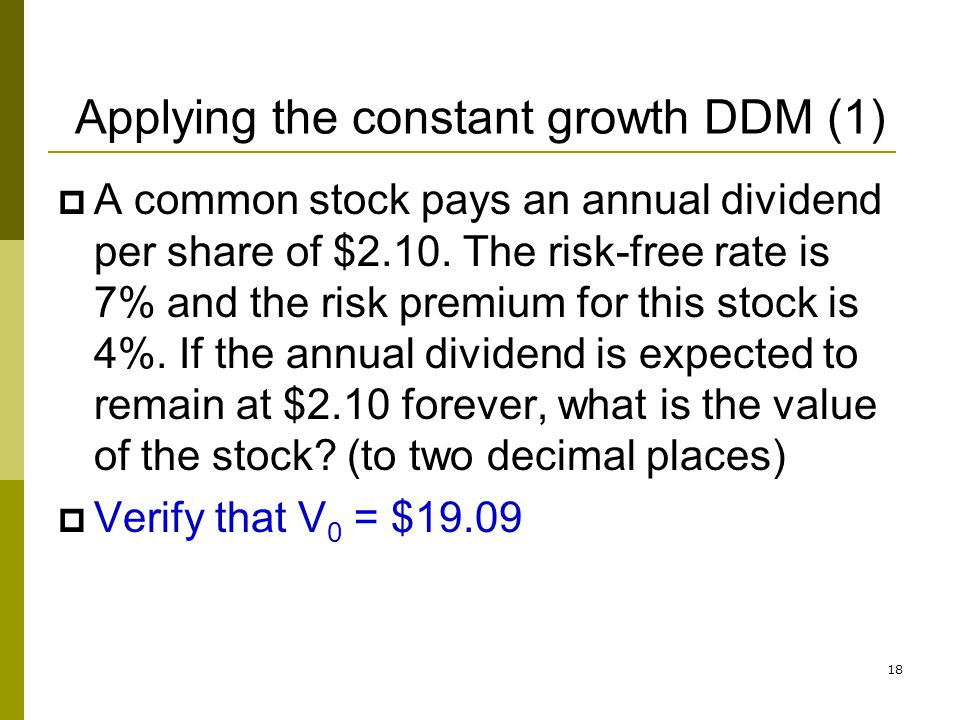 Applying the constant growth DDM (1)
