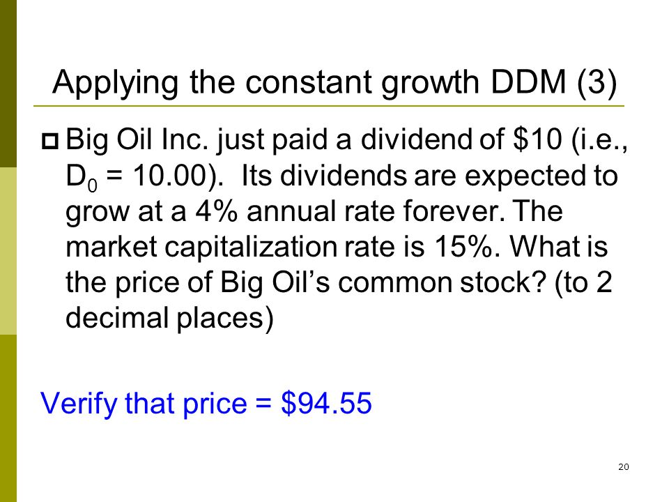 Applying the constant growth DDM (3)