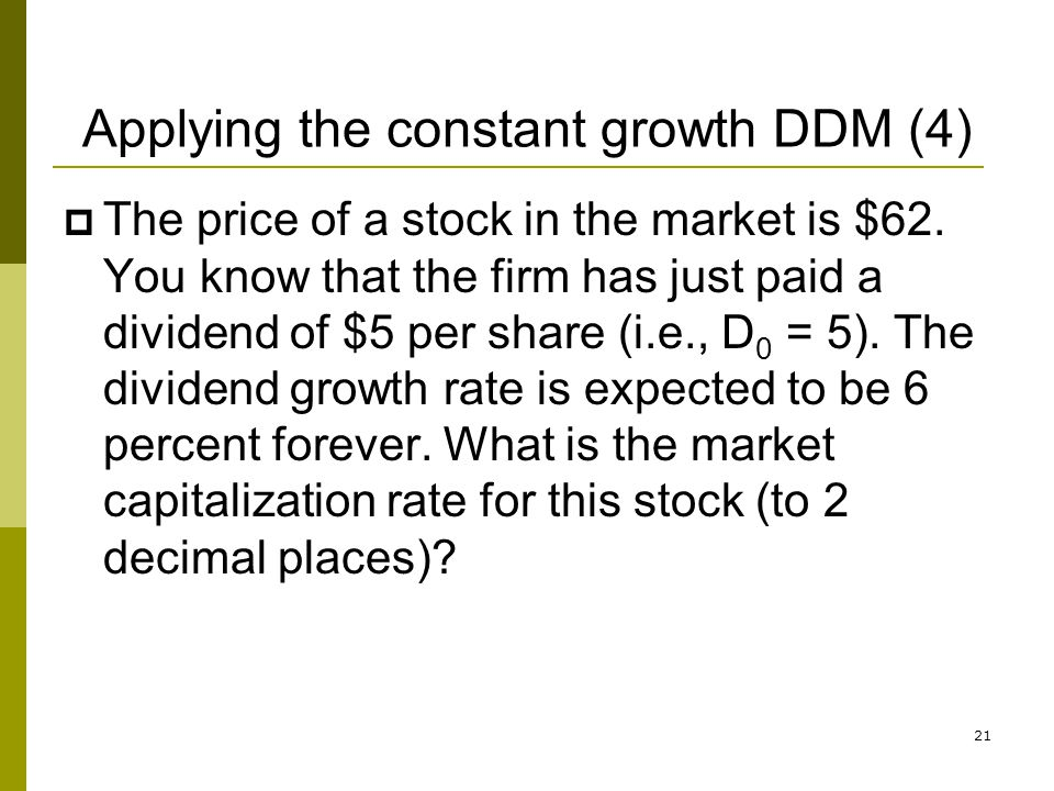 Applying the constant growth DDM (4)