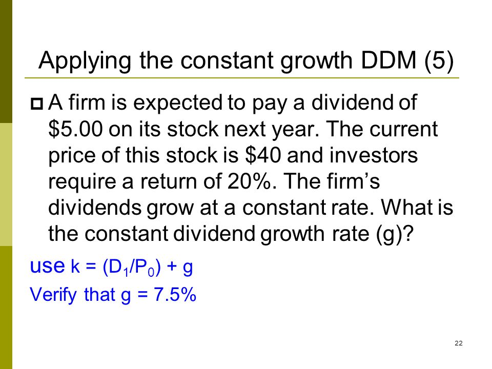 Applying the constant growth DDM (5)