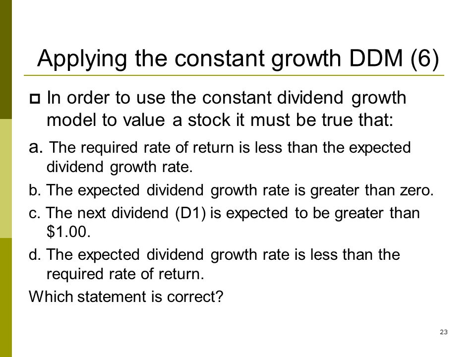 Applying the constant growth DDM (6)