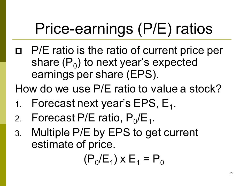 Price-earnings (P/E) ratios