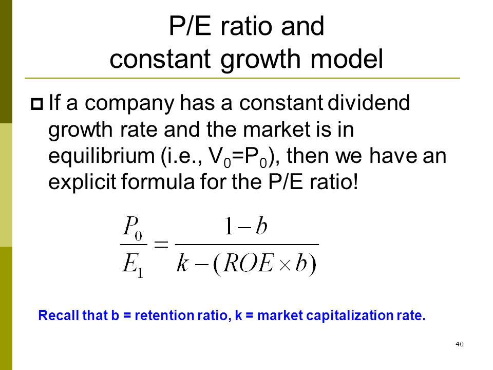 P/E ratio and constant growth model