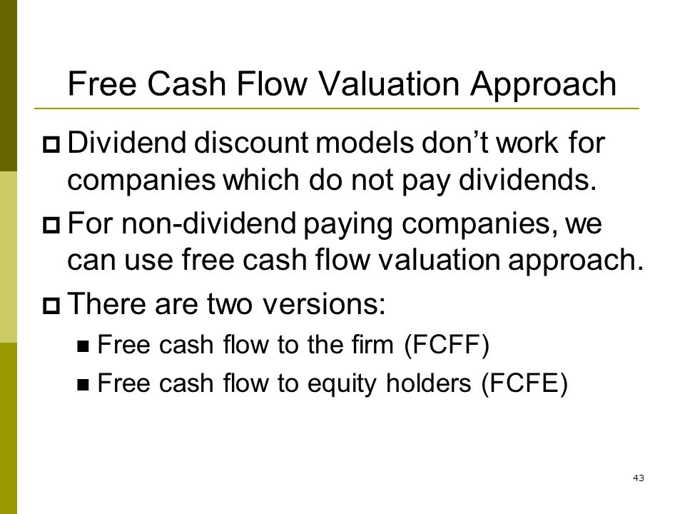 Free Cash Flow Valuation Approach