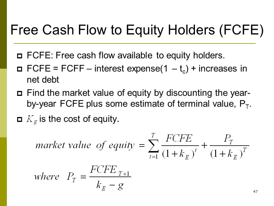 Free Cash Flow to Equity Holders (FCFE)