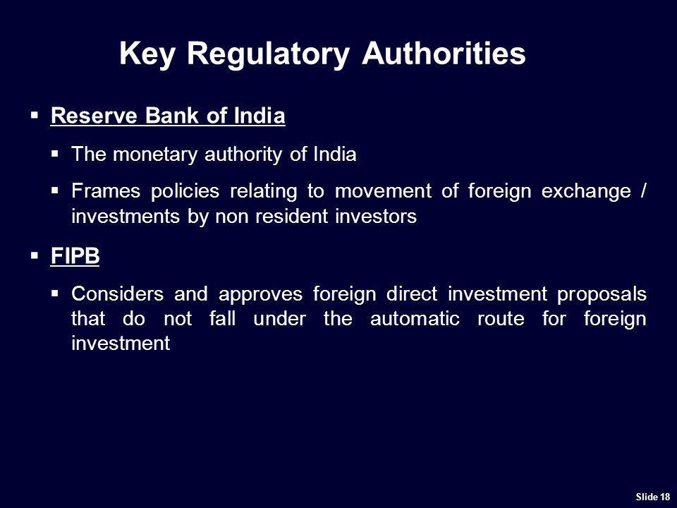 Scope of Key Regulatory Authorities