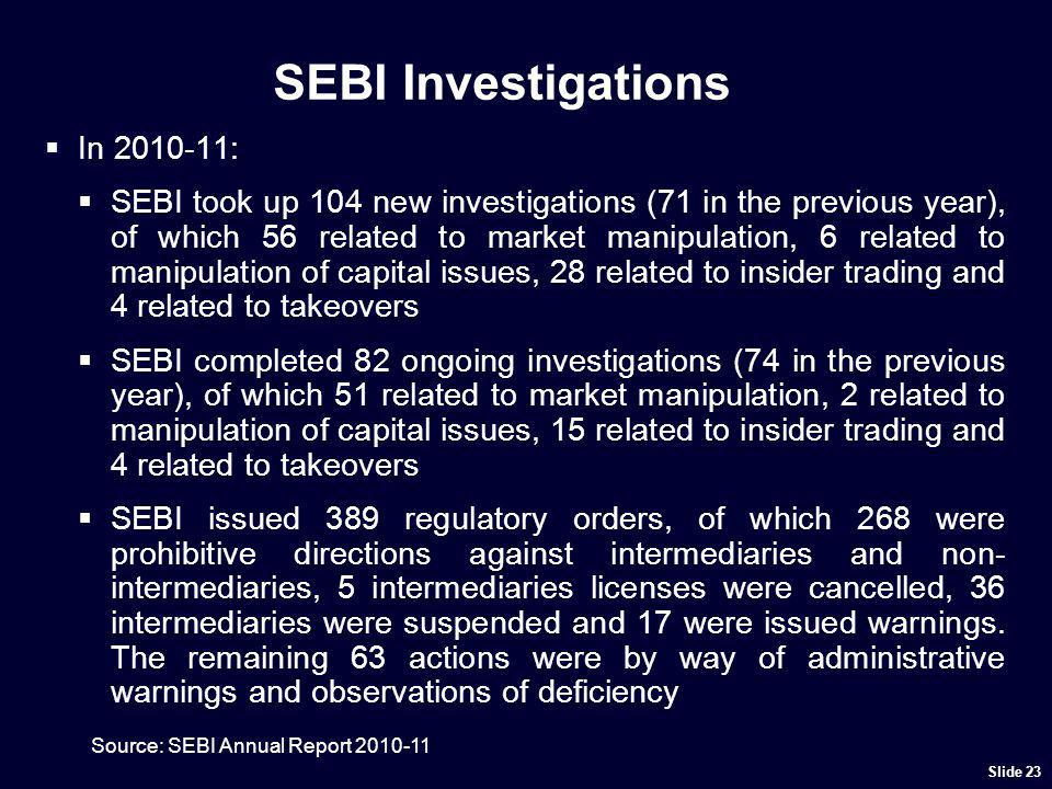 Examples of SEBI Investigations